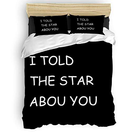 Juego de funda de edredón con cremallera I Told The Star About You, juego de funda de edredón suave, doble colección de hotel, incluye 1 funda de edredón y 2 fundas de almohada para cama individual