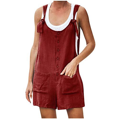 sunnymi Mono para mujer, con botón de bolsillo, sin mangas, body para juegos, pelele Vino XXL