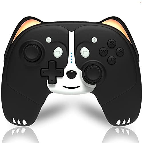 Wireless Controller Kompatibel für Nintendo Switch, Maegoo Switch Pro Controller mit 6 Achsen Gyro Turbo und Dual Vibrations Funktion, Cat Cute Game Controller Geschenke mit Atemlicht