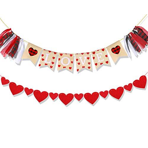 HOWAF Striscione per San Valentino, Banner di Cuore di San Valentine Ghirlande in Feltro, Juta Bandierine Matrimonio, Decorazione per San Valentino, per Fidanzamento, Nozze, Anniversario
