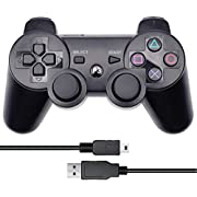 Vinonda PS3 Controller Wireless Double Vibration Remote Gamepad with Charging Cable for Sony Playstation 3 (Black)