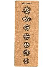 Sharplace 7 mm kalınlığında yoga matı, doğal mantar, kaymaz egzersiz matı, yoga, pilates, jimnastik, fitness egzersiz pedi için