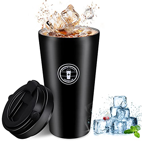 Gifort Tazza Termica da Viaggio 500ml, Thermos Isolato per caffè in 304 Acciaio Inossidabile con Coperchio e Manico, Tazza per caffè da Viaggio Senza BPA per Bevande Calde e Fredde (Nero)