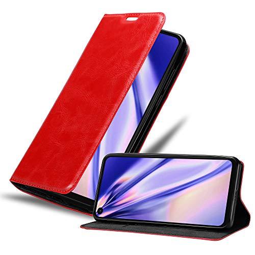 Cadorabo Custodia Libro per Motorola One Action in Rosso Mela - con Vani di Carte, Funzione Stand e Chiusura Magnetica - Portafoglio Cover Case Wallet Book Etui Protezione