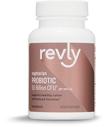 Amazon Brand - Revly One Daily Adult Probiotic Blend, Supports Healthy Colon and Immune Function, 50 Billion CFU (2 Strains), 30 Capsules, 1 Month Supply