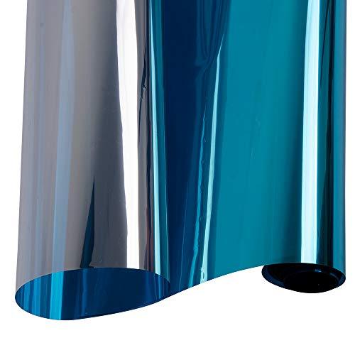 HOHO 152cmx50cm Overdag Privacy Raam Films Een Weg Spiegel Zelfklevende Hitte Controle Anti UV Raam Tint voor Thuis en op Kantoor (Blauw)