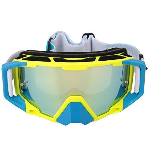 DAUERHAFT Gafas de Carreras de Bicicleta con Correa Antideslizante Ajustable para la Cabeza Que lo protegen de Las Lesiones y no influyen en la Vista, para Casco(Yellow and Blue)