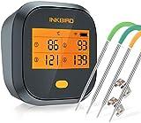 Inkbird Grillthermometer , Grillthermometer Wlan IBBQ-4T mit IPX3 Spritzfest, WiFi Fleischthermometer mit 4 Temperaturfühlern + Magnethalter, USB-Wiederaufladbares Bratenthermometer für Braten, BBQ