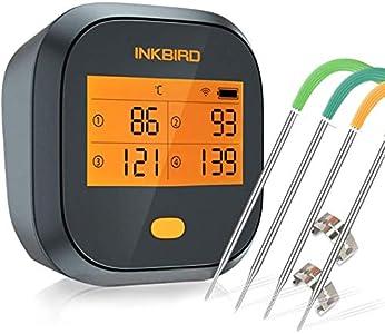 Inkbird IBBQ-4T WiFi BBQ Thermometer Termómetro inalámbrico recargable con 4 sondas Alarma Temporizador de calibración Termómetro digital para carne para horno ahumador Tambor de cocina