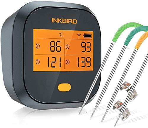 Inkbird IBBQ-4T Thermomètre Cuisson WiFi Thermometre Four Thermomètre Barbecue avec 4 Sonde Temperature Cuisine,Exterieur Interieur Étanche Magnétique Rechargeable pour Grille Viande,Boeuf,Poulet