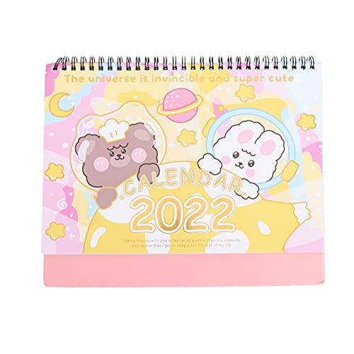 BESPORTBLE Calendario de Mesa 2022 Calendario de Año Nuevo de Dibujos Animados con Alambre Atado Plegable Calendario de Escritorio Calendario de Pie Calendario Planificador para Oficina