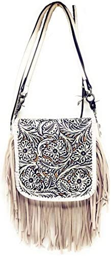 Western Genuine Leather Cowgirl Crossbody Messenger Fringe Laser Cut Purse Bag in 5 colors White product image