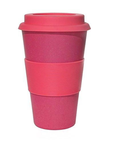 Ecoffee Kaffeebecher, Pink mit rosa Silikon, 400 ml, wiederverwendbar und umweltfreundlich, zum Mitnehmen
