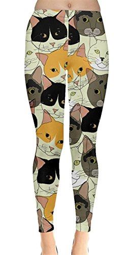 CowCow Womens Cat Face Leggings, Cat - M