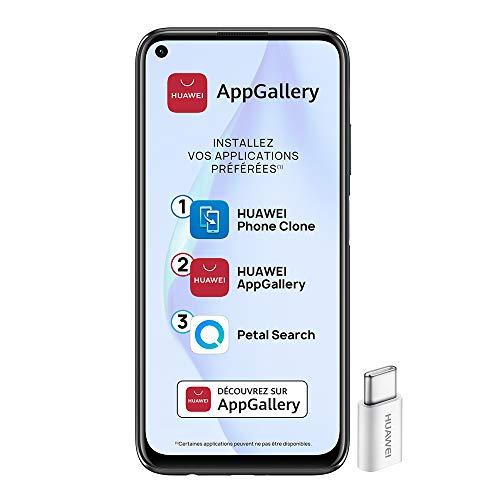 Huawei P40 Lite Smartphone débloqué 4G (6,4 pouces - 6/128go - Double Nano SIM EMUI 10.1 & AppGallery ) Noir + 52VA Adapter - Type C Plug [Version Française]