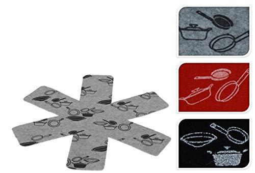 hibuy Pfannenschutz, Schutz für Pfannen aus Filz, 3er Set, Farbe: Grau