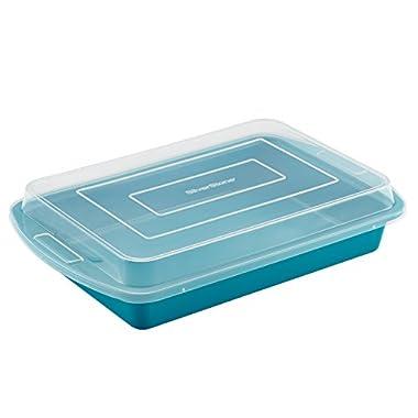 SilverStone Hybrid Ceramic Nonstick Bakeware Covered Cake Pan, 9-Inch x 13-Inch, Marine Blue