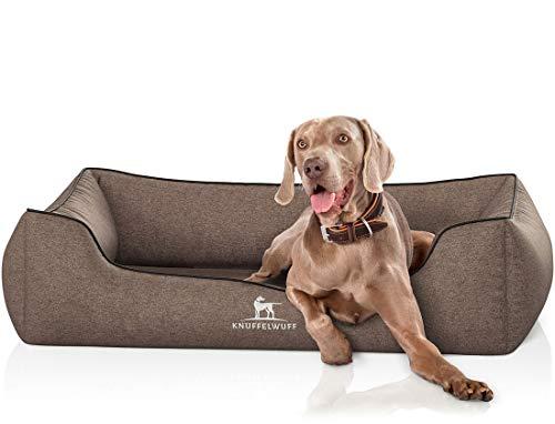 Knuffelwuff Orthopädisches Hundebett XXL Amelie Hundekorb Hundesofa Hundekissen Hundekörbchen waschbar grosse Hunde 120 x 85cm Braun