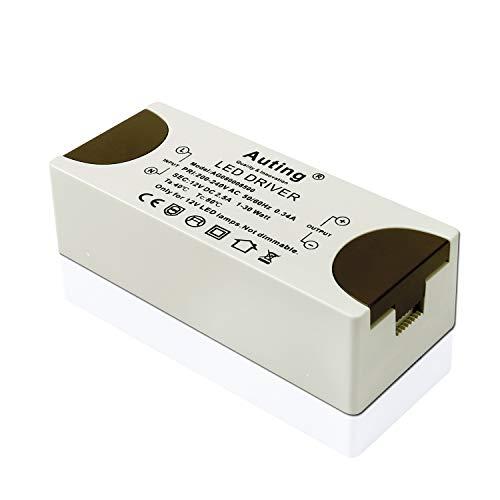Auting 12VDC Netzteil, Trafo 230V auf 12V LED Driver, 30W LED Transformator, kein LED-Flimmern zum G4 LED MR16 LED LED strips,1er Pack