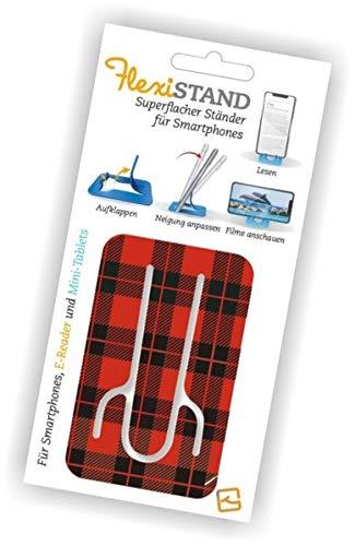 Flexistand Red Tartan - superflacher Aufsteller für Smartphones und Mini-Tablets, Handyhalter: Ideal zum Filme schauen und lesen - für zuhause und unterwegs