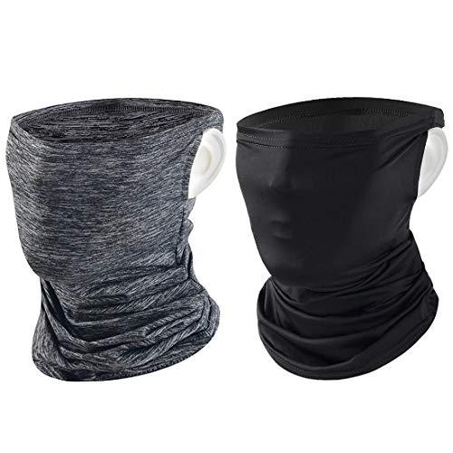 Tufusiur Neck Gaiter for Men Women Balaclava, Summer Face Scarf Neck Gaiters Cover Cooling Bandana Neck Gator Fishing Ski Mask for Dust Wind Sun, 2 Packs