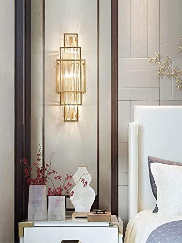 KDLAK Aplique de pared de cristal, con gradas, pared con marco de latón, lámpara de pared LED para sala de estar y pasillo junto a la cama