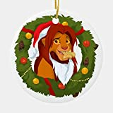 Bynight Tree Ornament Simba Drama Film Lion King Adult Wreath Santa Hat Eat Ginger Bread American Musical Christmas Ornaments for Home Decoration Kit Outdoor/Indoor Plastic Round 1pc/Pack