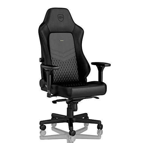 noblechairs Hero Gaming Stuhl - Bürostuhl - Schreibtischstuhl - Echtleder - Inklusive Kissen - Schwarz