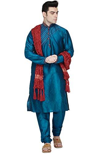 mannen tuniek art zijde kurta pyjama en sjaal set