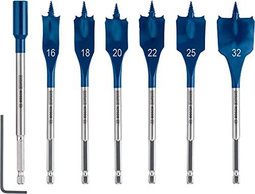 Bosch Professional 7 x Set de brocas fresadoras planas Expert SelfCut Speed, para Madera blanda, Aglomerado, 16-32 mm, Accesorios Taladro de impacto rotativo