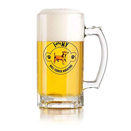 Boccale di birra in vetro di alta qualità da 16 once I Love Paw My Bull Miniature Dog