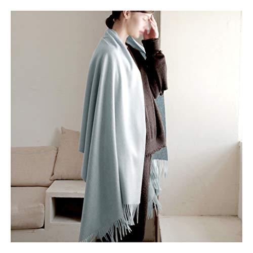 Moda Bufanda Chal Las mujeres de la bufanda del abrigo del mantón cabeza hacia la cachemira cálida lana bufandas del mantón del abrigo de la borla de color sólido bufanda universal grande Bufanda acog