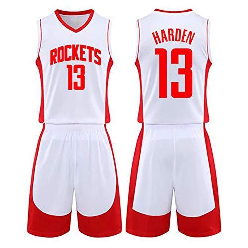 GDHA James Harden Basketballtrikot 2-teiliges Set Houston Rockets 13#, Herren Tops Shorts, perfekt für Outdoor-Sport, Weiß-L