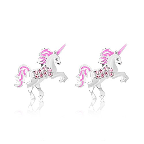 Unicorn Earrings for Kids Screwback Studs With Swarovski Crystal Elements Safe Hypoallergenic For Girls Children Infants Toddlers Babies and Tween White Gold Toned with 925 Sterling Silver Posts