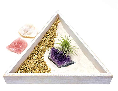 people crystals Crystal Zen Garden for Desk/Gift Set Includes Natural Healing Stones, Air Plant, Sand/New Crystal Cluster Meditation Kit