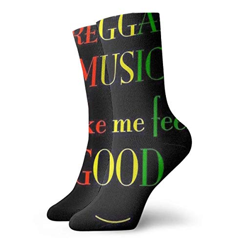 wwoman Novedad Divertido Crazy Crew Sock Reggae Rasta Feel Good Impreso Sport Athletic Calcetines 30cm de largo Calcetines personalizados de regalo