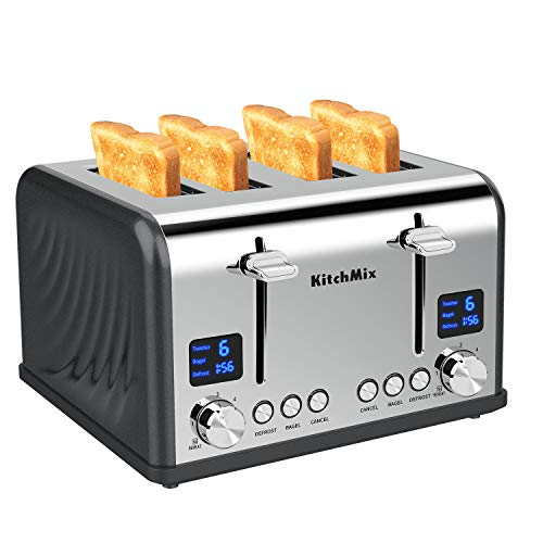 Toaster 4 Slice, KitchMix Bagel Stainless Toaster with LCD Timer, Extra Wide Slots, Dual Screen, Removal Crumb Tray (Gray)