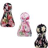 Silky Durags for Men Women 360 Waves Doo Rag Headwrap Cap?3/4 pack?, B1-solid Silky-3 Packed, Medium