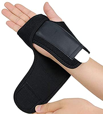 Gelible Hand & Wrist Brace Support, Removable Splint, Prevent Wrist Injury, Palm Band, Relieve for Carpal Tunnel Syndrome,Tendonitis and Arthritis Pain,One Size Fits Most, Black (Right)