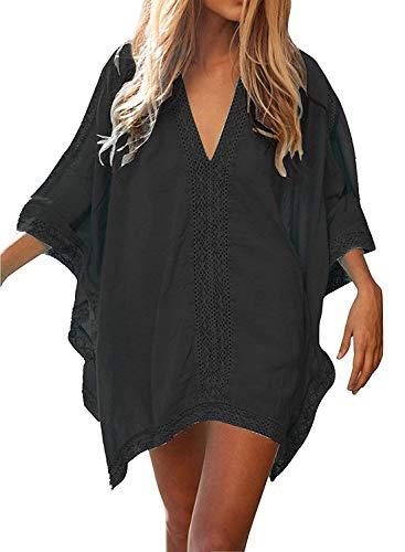 JFAN Camisa Suelto de Bikini Mujer Ropa de Baño Playa Traje de Baño Vestido de Bikini Camisolas y Pareos(Negro,Talla única)