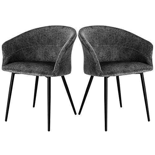 ELIGHTRY Esszimmerstuhl Küchenstuhl Samt Stuhl Sessel mit Armlehnen, Metallbeinen,2er Set Esszimmerstühle für Esszimmer, Wohnzimmer, Grau