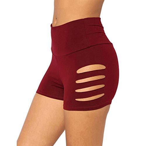 Dorical Damen Kunstleder Hohe Taille Shorts, Schwarz Sexy Hotpants Kostüm Basic Pants Leggings Kunstleder-Optik Kurze Hose (Large, Z6-Weinrot)