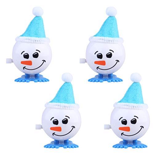 LUOEM Schneemann Figur Ornament Aufziehspielzeug Aufziehfigur Weihnachten Deko Figuren für Kinder Weinachten Party Favor Kindergeburtstag Gastgeschenke Blau 4 Stück