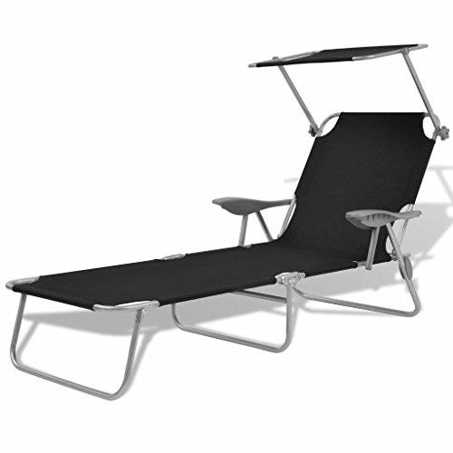 vidaXL Chaise longue de jardin avec baldaquin Acier Noir 58x189x27 cm
