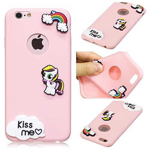 Wubao Fundas iPhone 6 Silicona Unicornio, Carcasas iPhone 6s Silicona Unicornio, Funda de Silicona Animales Suave Unicornio 3D para Fundas Apple iPhone 6 / 6s Carcasas Dibujos Animados