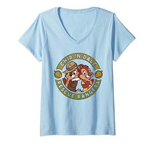 Donna Disney Chip 'N Dale Rescue Rangers Logo Maglietta con Collo a V