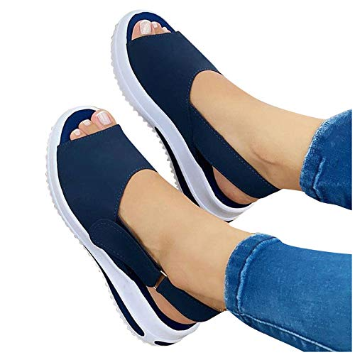Wlabe 2021 Femmes Sandale tête Ronde Women's Sliiper Shoes Fish Mouth Sandals Orthopedic Sandals Printemps été Hauteur Augmenter Chaussures Mode compensée Plate Sandales