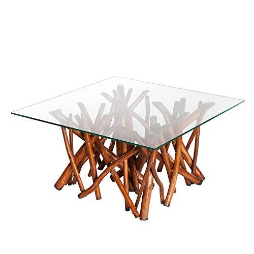 *Invicta Interior Design Teakholz Couchtisch Driftwood Natur braun mit Glasplatte eckig Glastisch Holztisch Treibholz*