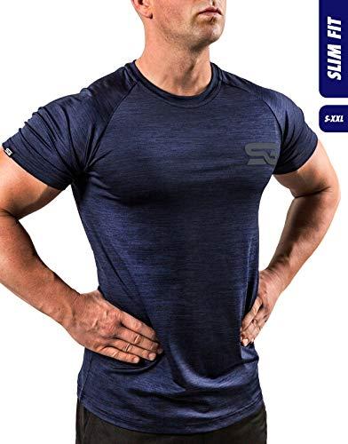 Satire Gym Fitness T-Shirt Herren - Funktionelle Sport Bekleidung - Geeignet Für Workout, Training - Slim Fit (S, Navy Blue meliert)
