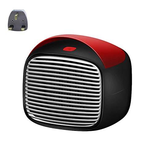 Mini calentador ventilador cerámica PTC 800 W, calentador espacio escritorio eléctrico portátil con 3 configuraciones calor, termostato, pantalla táctil, protección contra sobrecalentamiento y vuelco